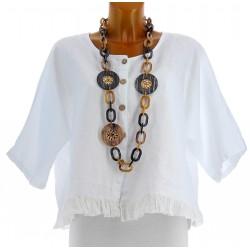 Veste femme boléro lin bohème grande taille blanc FROUFROU