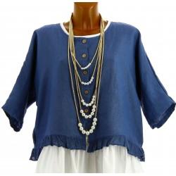Veste femme boléro lin bohème grande taille bleu jean FROUFROU