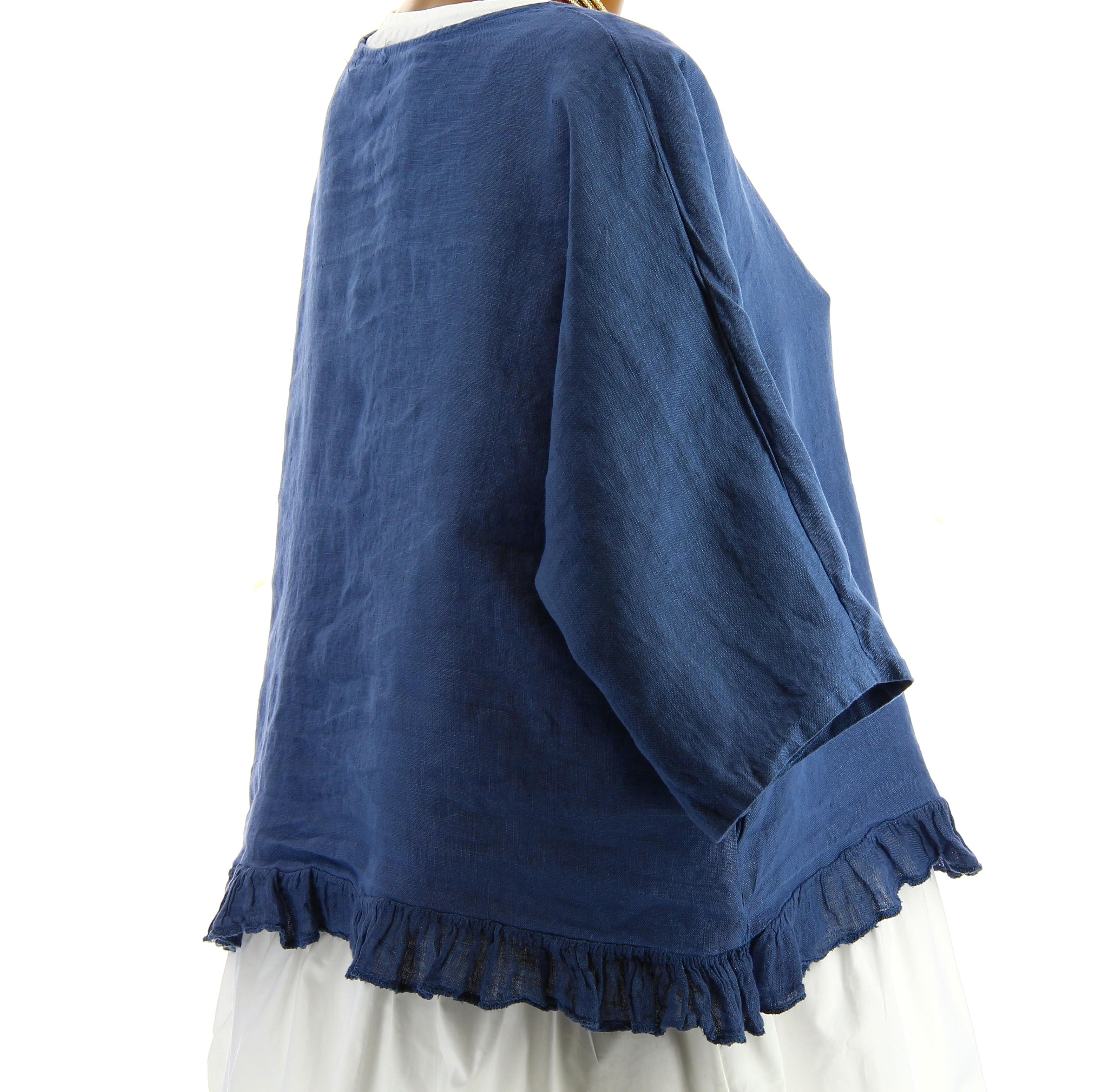 veste femme bol ro lin boh me grande taille bleu jean froufrou. Black Bedroom Furniture Sets. Home Design Ideas