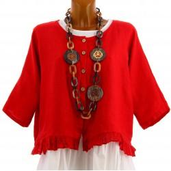 Veste femme boléro lin bohème grande taille rouge FROUFROU