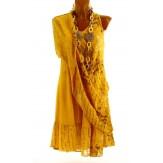 Robe grande taille été bohème chic safran PAGNOL