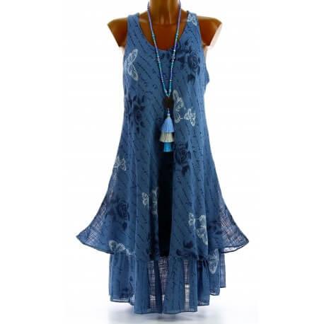 Robe grande taille été bohème chic bleu jean PAGNOL