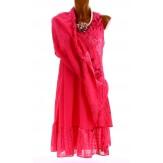 Robe grande taille été bohème chic fushia PAGNOL
