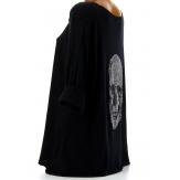 Tee shirt bohème grande taille strass noir DEAD