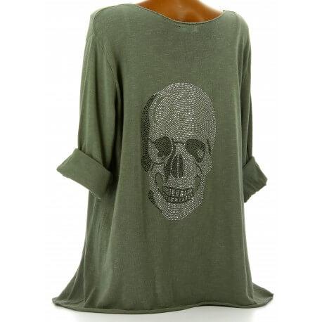 Tee shirt bohème grande taille strass kaki DEAD