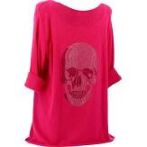 Tee shirt bohème grande taille strass fushia DEAD