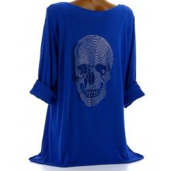 Tee shirt bohème grande taille strass bleu royal DEAD