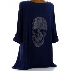 Tee shirt bohème grande taille strass bleu marine DEAD