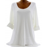 Tee shirt bohème grande taille strass blanc DEAD