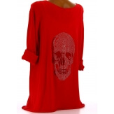 Tee shirt bohème grande taille strass rouge DEAD