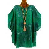 Tunique grande taille poncho été ethnique vert CORINE