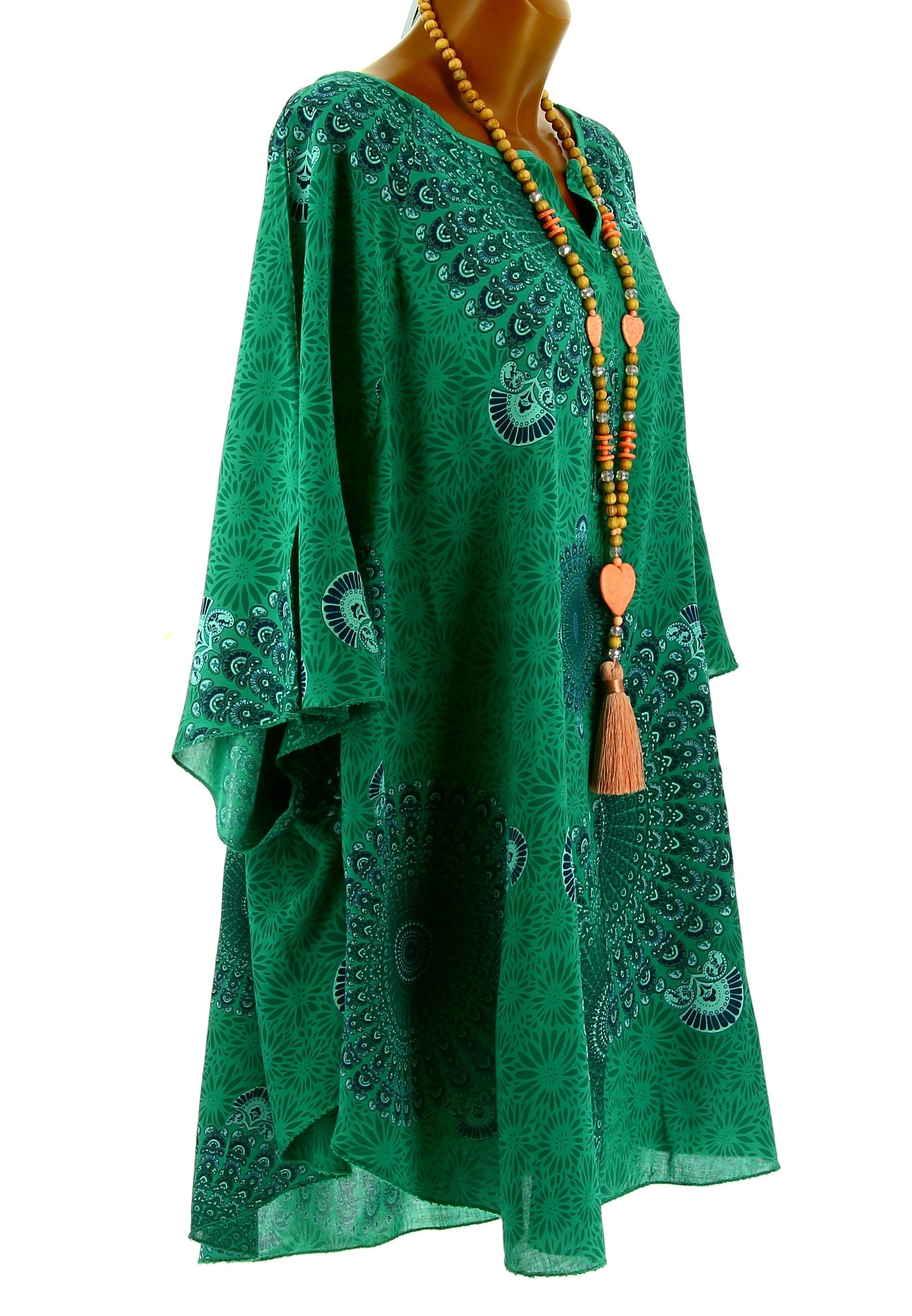 tunique grande taille poncho t ethnique vert corine. Black Bedroom Furniture Sets. Home Design Ideas