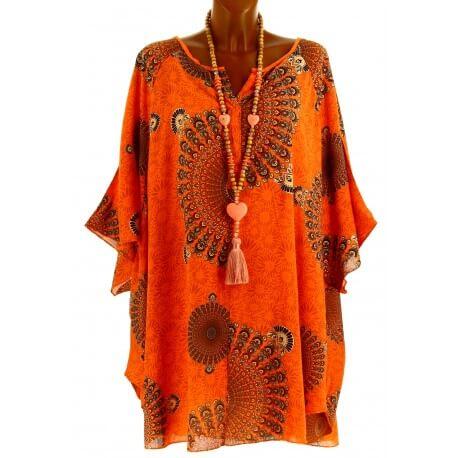 Tunique grande taille poncho été ethnique orange CORINE