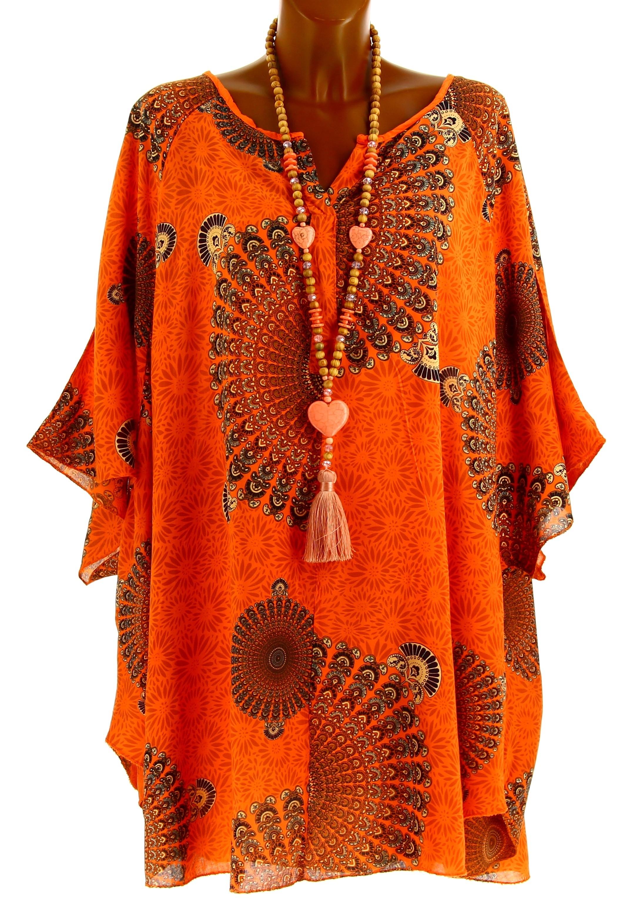 tunique grande taille poncho t ethnique orange corine. Black Bedroom Furniture Sets. Home Design Ideas