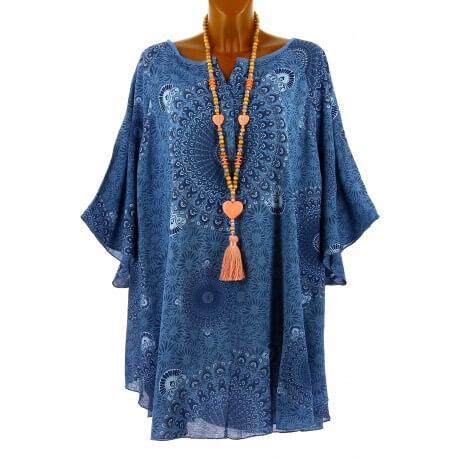 Tunique grande taille poncho été ethnique bleu jean CORINE