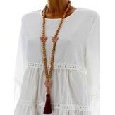 Collier long sautoir bois perles pierre gros pompon bohème C15