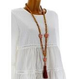 Collier long sautoir bois perles pierre gros pompon bohème C18