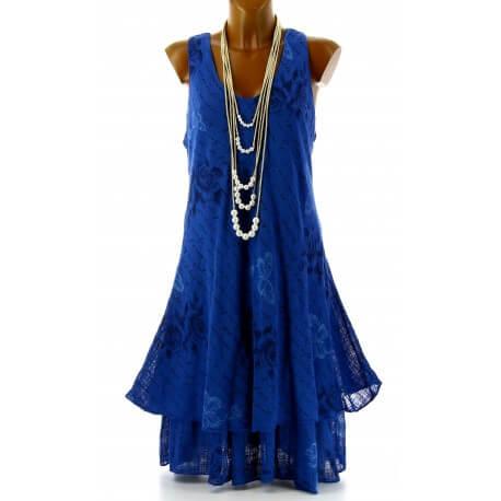 Robe grande taille été bohème chic bleu dur PAGNOL
