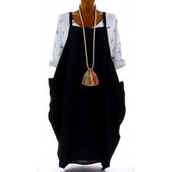 Robe grande taille lin bohème noir NATACHA