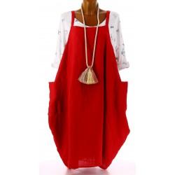 Robe grande taille lin bohème rouge NATACHA