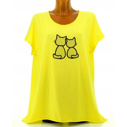 Tee shirt femme coton bohème grande taille jaune MINUIT