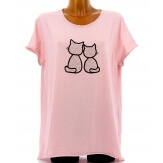 Tee shirt femme coton bohème grande taille rose MINUIT
