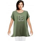 Tee shirt femme coton bohème grande taille kaki MINUIT
