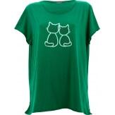 Tee shirt femme coton bohème grande taille vert MINUIT