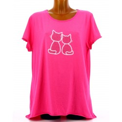 Tee shirt femme coton bohème grande taille fushia MINUIT