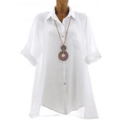 Chemise femme longue lin dentelle bohème blanche EMMA