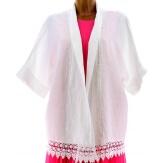 Veste femme grande taille kimono lin dentelle blanc JULIA