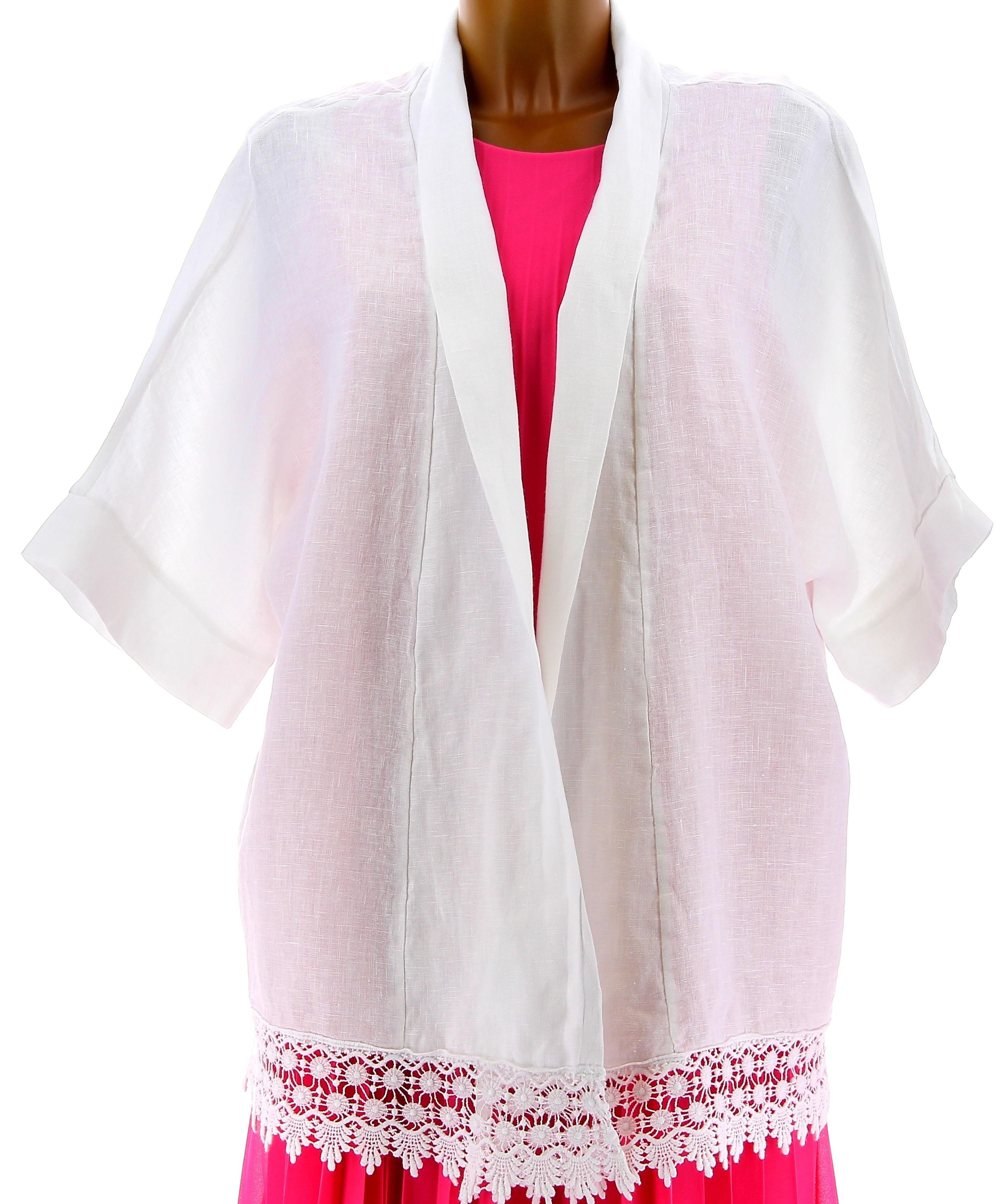 veste femme grande taille t lin dentelle blanc julia. Black Bedroom Furniture Sets. Home Design Ideas