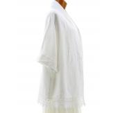Veste femme grande taille été lin dentelle blanc JULIA