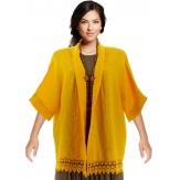 Veste femme grande taille été lin dentelle jaune JULIA