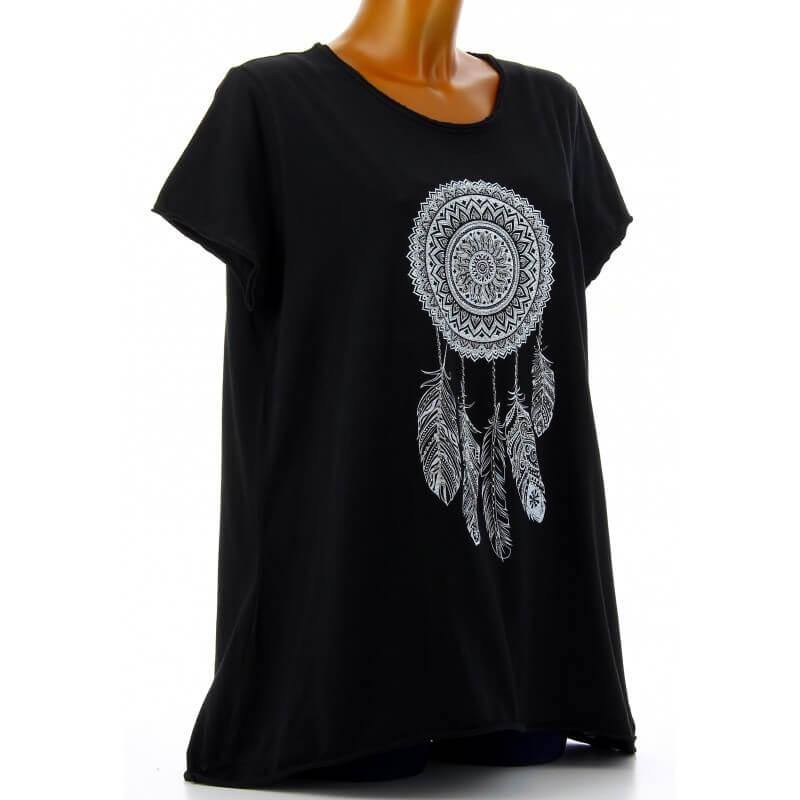 tee shirt femme coton boh me grande taille noir reves. Black Bedroom Furniture Sets. Home Design Ideas