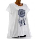 Tee shirt femme coton bohème grande taille blanc REVES