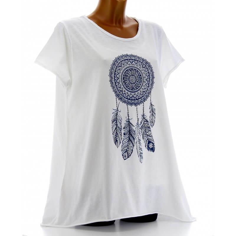 tee shirt femme coton boh me grande taille blanc reves. Black Bedroom Furniture Sets. Home Design Ideas