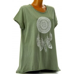 Tee shirt femme coton bohème grande taille kaki REVES