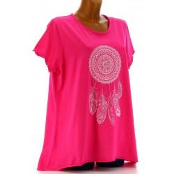Tee shirt femme coton bohème grande taille fushia REVES