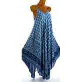 Robe longue été asymétrique bohème ethnique bleu jean GOLD