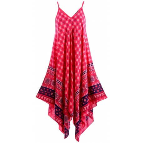 Robe longue été asymétrique bohème ethnique fushia GOLD