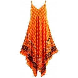 Robe longue été asymétrique bohème ethnique orange GOLD