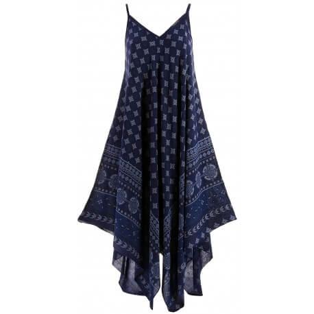 Robe longue été asymétrique bohème ethnique bleu marine GOLD