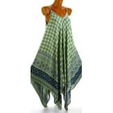 Robe longue été asymétrique bohème ethnique kaki GOLD