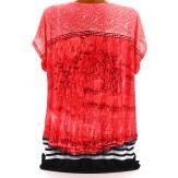 Tee shirt drapé strass tunique grande taille corail CACHOU