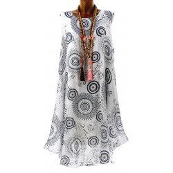 Robe longue grande taille été bohème ethnique blanche HONORINE