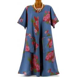 Robe grande taille longue été lin bohème bleu jean BABYLONE