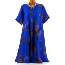 Robe grande taille longue été lin bohème bleu dur BABYLONE