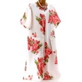 Robe grande taille longue été lin bohème blanc BABYLONE