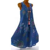 Robe femme grande taille lin bohème été bleu jean PORTO